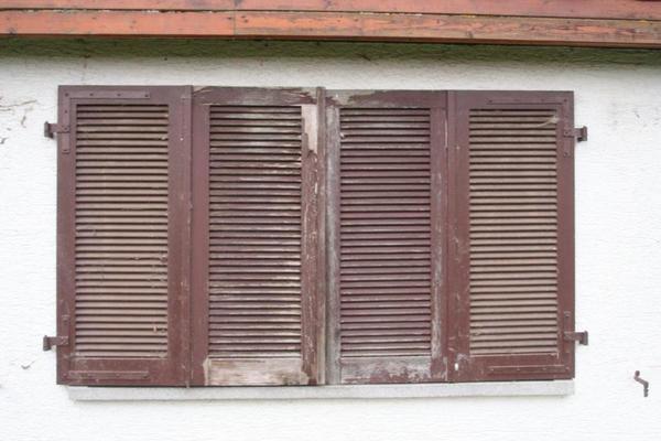 2 Paar Fensterl Den Holz Gebraucht Farbe Braun In