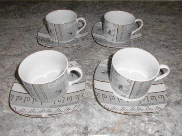 8 tlg cappuccino tassen set f r 4 personen in schwarz wei grau ein unterteller hat einen. Black Bedroom Furniture Sets. Home Design Ideas