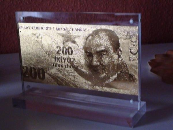 999 9 gold 200 lira t rkei altin banknote in originalgr e in einem acryl rahme in mannheim. Black Bedroom Furniture Sets. Home Design Ideas