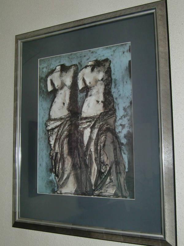 ausgesprochen sch nes bild in blaut nen mit glas und massiven holzrahmen in taufkirchen kunst. Black Bedroom Furniture Sets. Home Design Ideas