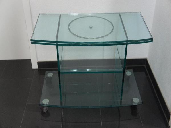 Design fernsehtisch fernsehrack glas mit drehplatte in for Fernsehtisch design