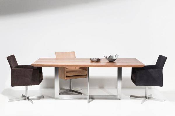Edelstahl Esstisch mit Eichenplatte Konferenztisch Designertisch in