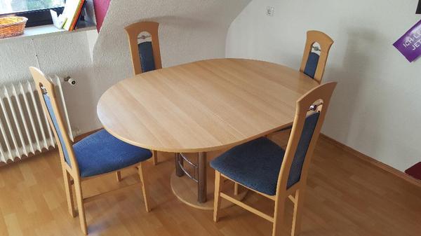 Esstisch Stühle Kare ~ Gebrauchter aber gut erhaltener runder Esstisch (ausziehbar) sowie 4 Stühle a