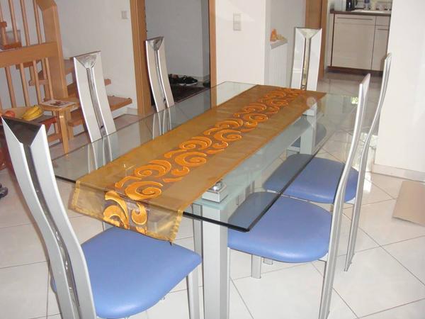 esstisch glastisch mit 6 stuehlen esstisch aus glas mit 6 stuehlen. Black Bedroom Furniture Sets. Home Design Ideas