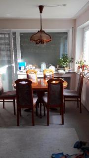Esszimmergruppe + Lampe Echtholz