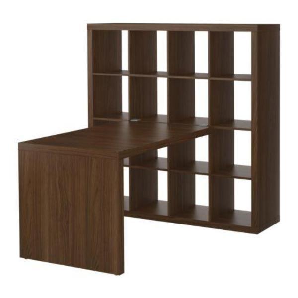 expedit regal mit schreibtisch in nussbaum braun in berlin ikea m bel kaufen und verkaufen. Black Bedroom Furniture Sets. Home Design Ideas