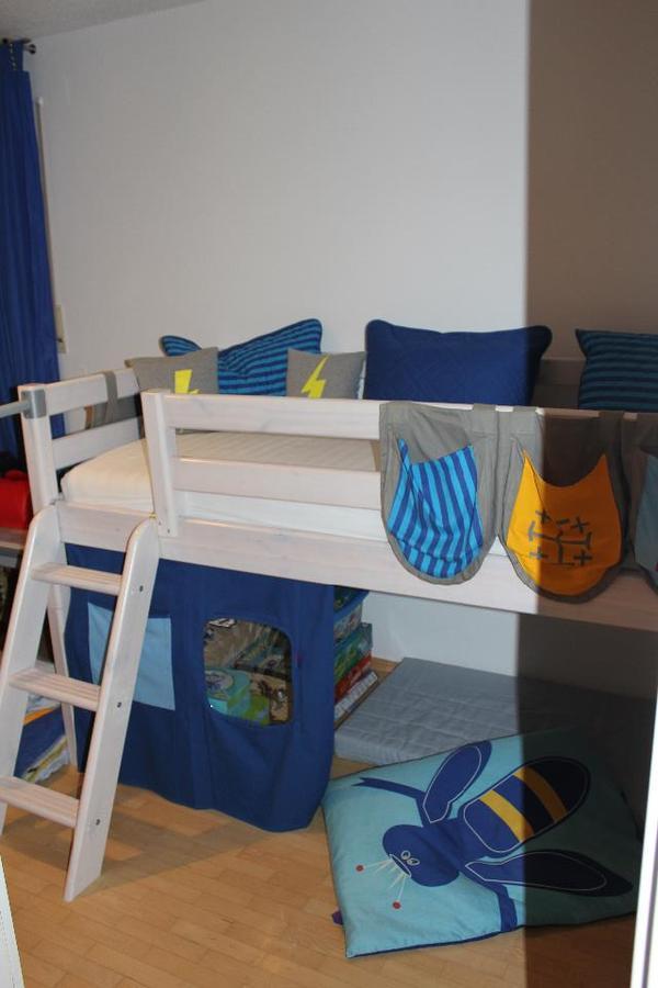 Esstischgarnitur Ikea ~ Kinderbett, Halbhoch FLEXA Material Kiefer, Farbe weiß , Serie FLEXA Classic