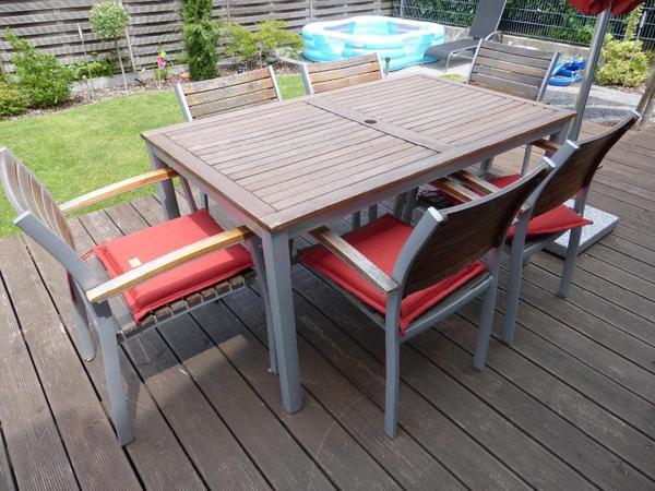 gartenm bel sitzgruppe eukalyptus aluminium in st leon rot kaufen und verkaufen ber private. Black Bedroom Furniture Sets. Home Design Ideas