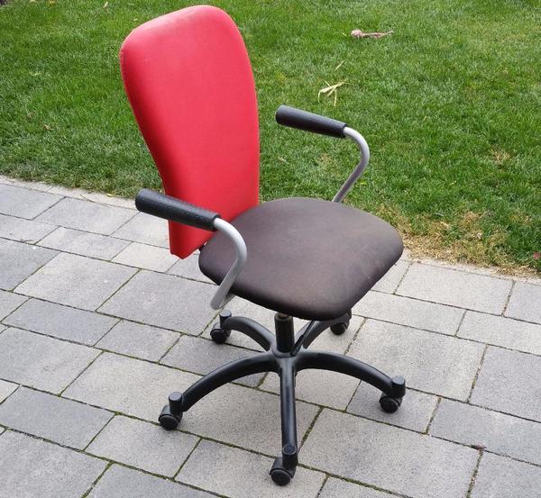 Ikea Flaxa Bed With Trundle ~ Gebrauchter IKEA Bürostuhl Drehstuhl mit Armlehnen schwarz rot in