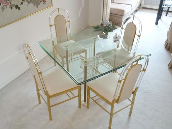 glas acryltisch gold acrylfuss 4 st hle mit seidenbezug in neu isenburg speisezimmer. Black Bedroom Furniture Sets. Home Design Ideas