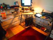 Glas Eck Schreibtisch