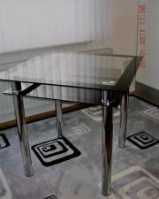 GLASTISCH - schwarz-Silber