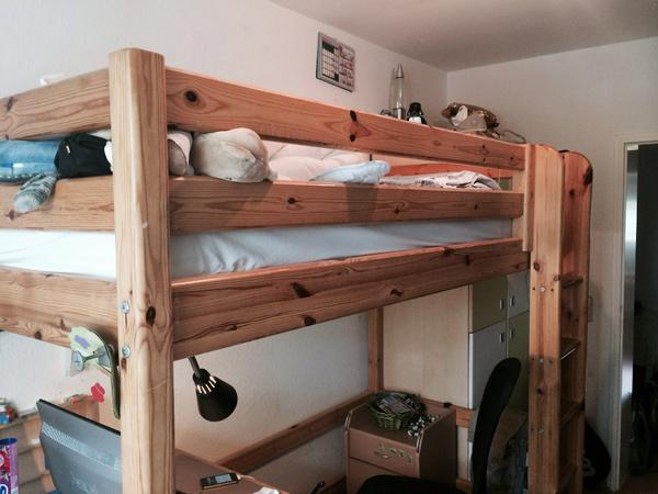 hochbett mann mobilia 90x200 kiefer in karlsruhe kinder jugendzimmer kaufen und verkaufen. Black Bedroom Furniture Sets. Home Design Ideas