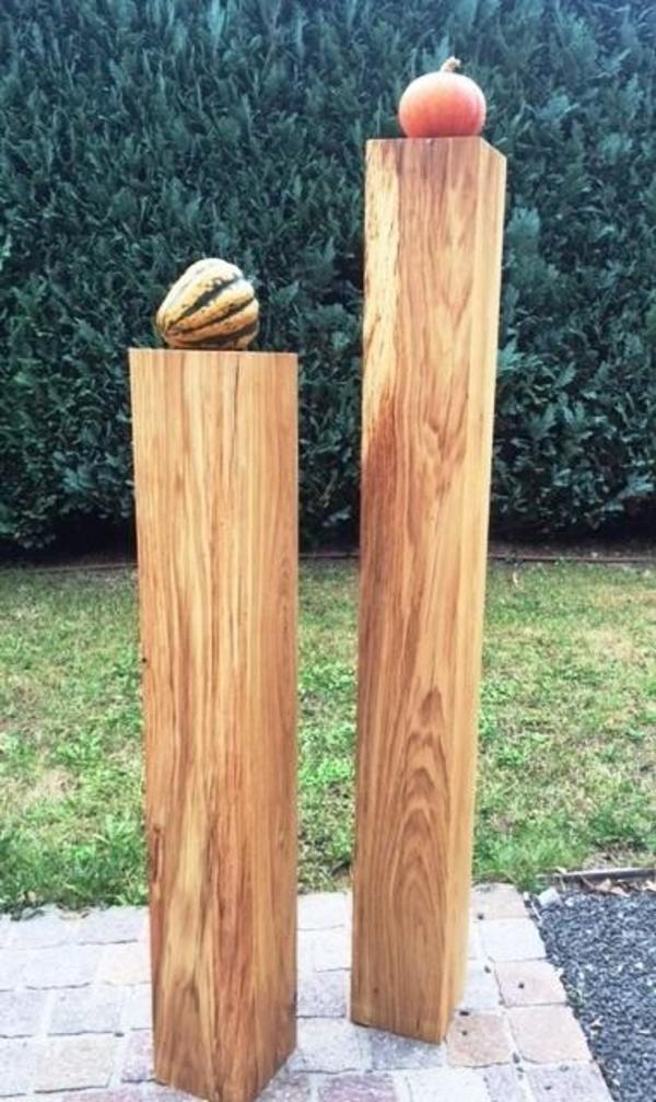 Holz stele eiche holzklotz sockel dekos ule podest for Dekoartikel holz