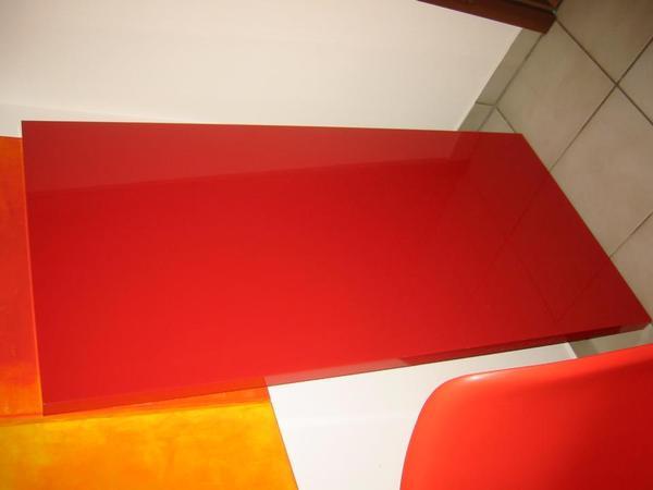 Ikea linnmon tischplatte schreibtischplatte rot lack for Schreibtisch rot lack