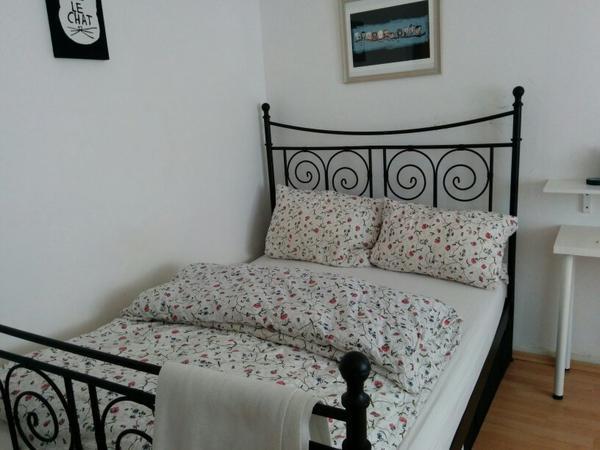 ikea noresund schwarzes stahlbett in n rnberg schr nke sonstige schlafzimmerm bel kaufen. Black Bedroom Furniture Sets. Home Design Ideas