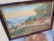 Jagdmotiv antikes Ölgemälde