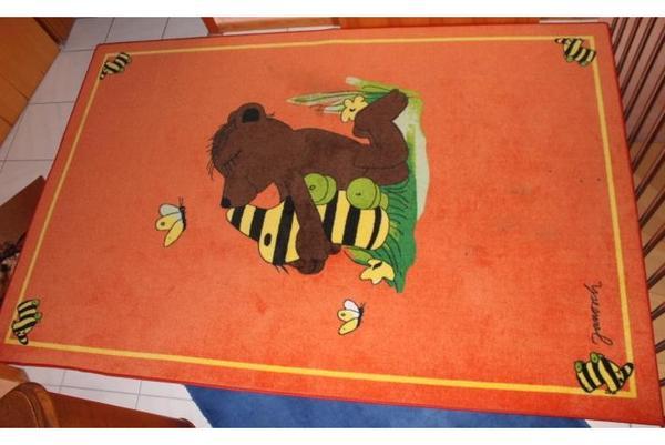 Janosch Kuschelente Teppich für Kinderzimmer, orange in