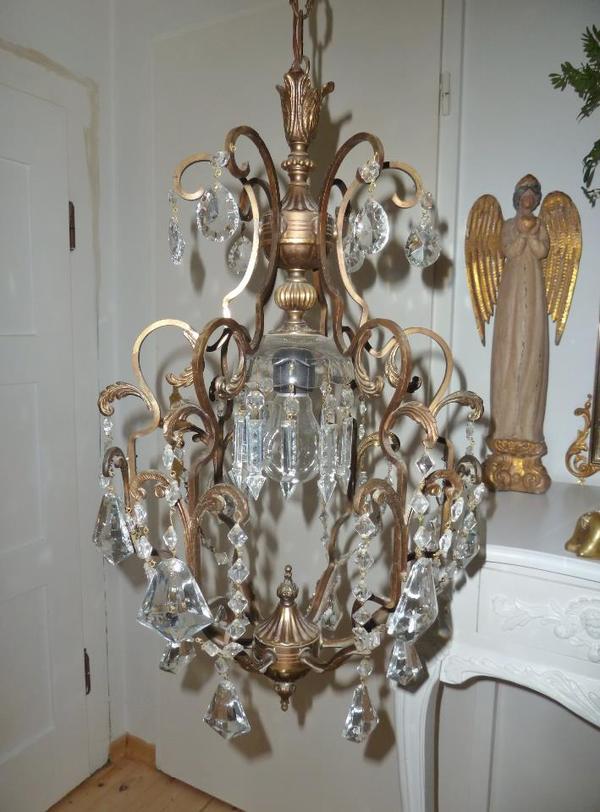 kristall l ster messing chandelier korbl ster shabby chic. Black Bedroom Furniture Sets. Home Design Ideas