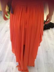 oranges Vokuhila kleid