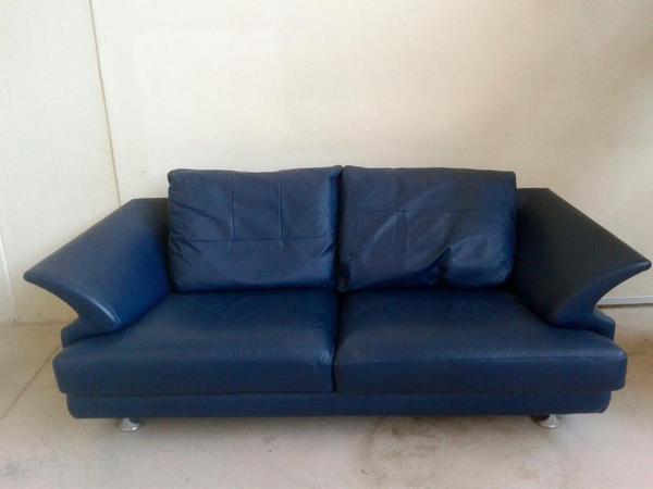 rolf benz sofa couch leder 2 sitzer dunkelblau in. Black Bedroom Furniture Sets. Home Design Ideas