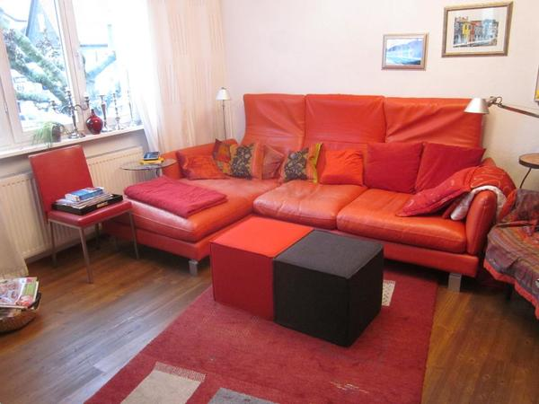 rotes ledersofa in frankfurt polster sessel couch kaufen und verkaufen ber private. Black Bedroom Furniture Sets. Home Design Ideas