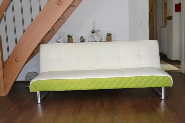 schlafsofa gr n wei in andernach polster sessel. Black Bedroom Furniture Sets. Home Design Ideas