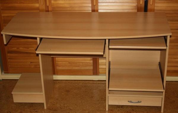 Schreibtisch computertisch buche dekor gut erhalten mit 3 for Computertisch buche