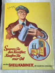 Shell Benzin, Reklameblechschild,