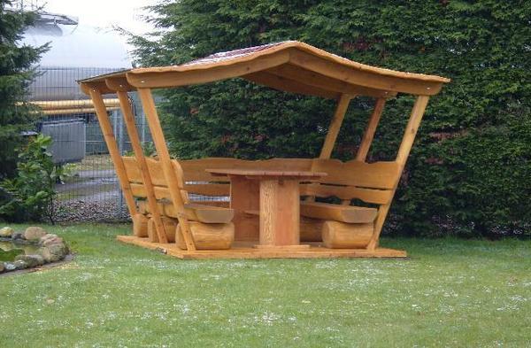 Gartenmobel Set Edelstahl Teak : Überdachte Gartenmöbel mit drei BänkeHolzmöbelGartenmöbel in
