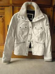 weiße Damen-Lederjacke