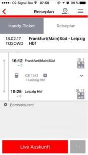 Zugticket Frankfurt- Leipzig