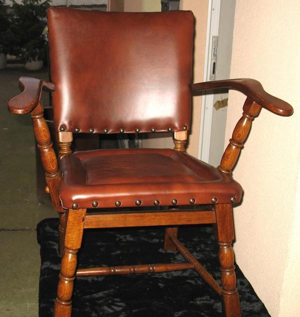 Antiker Stuhl Sessel Chaire Leder Bezug 2x Armlehne top