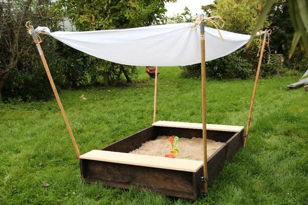 bauanleitung sandkasten sand spielen sonnendach materialliste werkzeugliste spielzeug selber. Black Bedroom Furniture Sets. Home Design Ideas