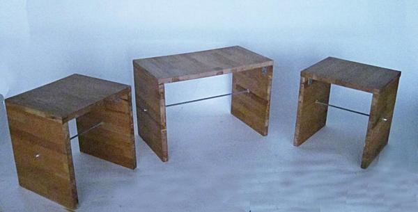 Beistell-Elemente-Hocker oder Tisch aus Holz