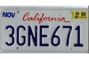 CALIFORNIA Autokennzeichen und