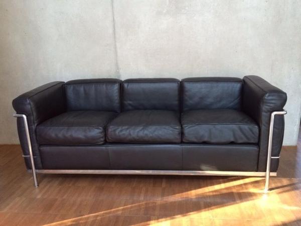 Cassina Lc2 3 Sitzer 3er Sofa Original Von Le Corbusier Leder Schwarz In Dresden Polster