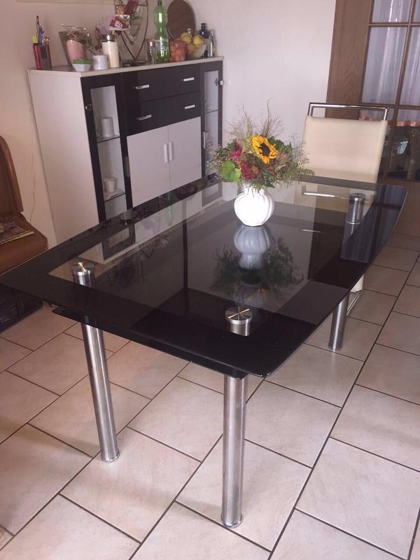 Glastisch schwarz  Esstisch Glastisch schwarz weiß in Viernheim - Schränke, Sonstige ...