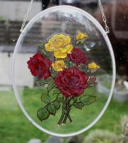 GLASBILD mit Rosen