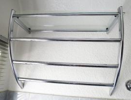 Bad, Einrichtung und Geräte - Handtuchhalter mit Glasboden Verchromtes Badezimmer-Wandregal