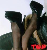 High-Heels Super-Plateau schwarz o grau