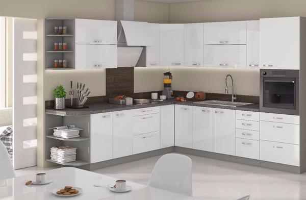 Küche Weiß Hochglanz 260 x 270 cm ohne Geräte in Dortmund ...