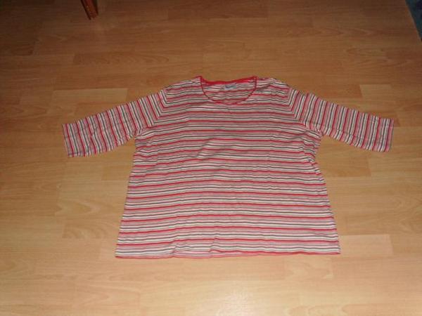 Langarmshirt von Gina Laura, rot geringelt, Gr. 50 - Bad Harzburg - Biete hier ein Langarmshirt von Gina Laura in Größe 50 (XXL) an. Er besteht aus 100% Baumwolle. Das Shirt ist rot mit weiß, schwarz, orange und beige geringelt. Die Ärmel sind 3/4 lang. Das Shirt wurde getragen und ist gut erhalten. Ver - Bad Harzburg