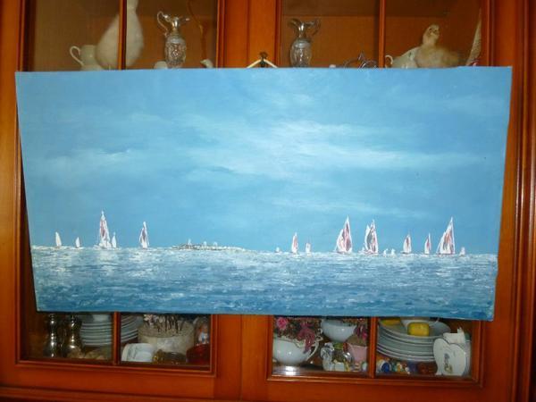 lbild gemalt auf leinen segelboote auf d meer in k ln kunst gem lde plastik kaufen und. Black Bedroom Furniture Sets. Home Design Ideas