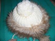 Russische Mütze mit Fellrandgestrickte Hut