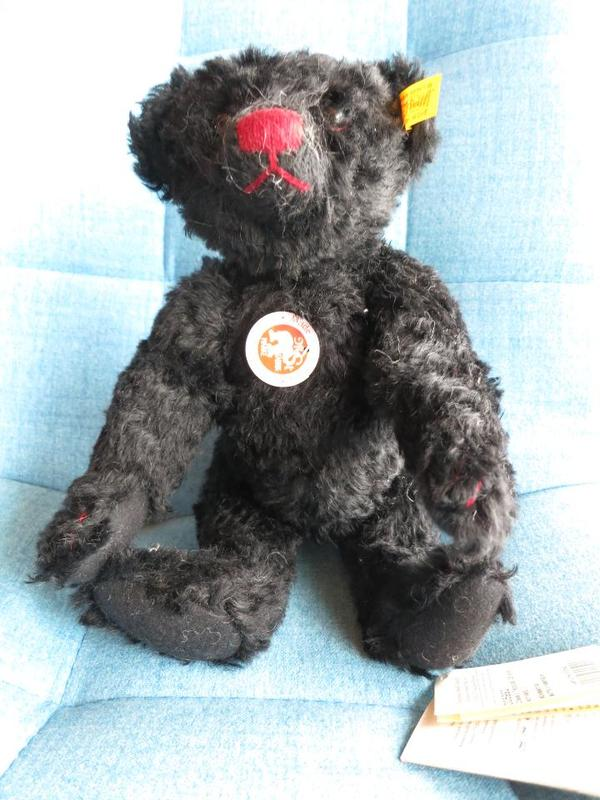 Steiff Teddybär - Neustadt Mußbach - Classic Teddybär, Mohair, 28 cm, schwarz, unbespielt, Nr. 005992 - Neustadt Mußbach