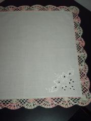 Taschentücher 3 dekorativ umhäkelte Handarbeit