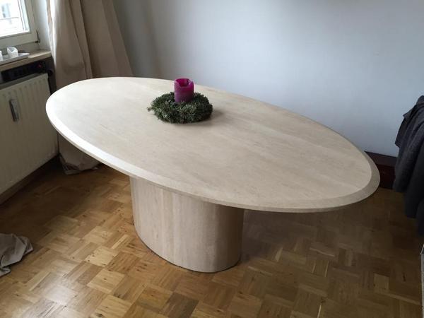 travertin esstisch oval 203 cm in münchen - speisezimmer, essecken, Innenarchitektur ideen