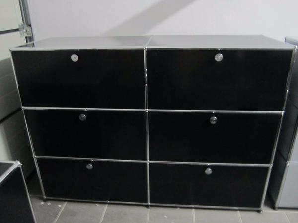 usm haller sideboard 6 schubladen in schwarz container. Black Bedroom Furniture Sets. Home Design Ideas